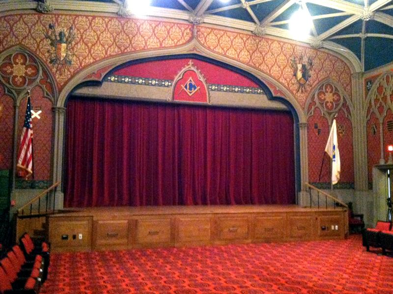 Gothic Hall in the Grand Lodge. The theater is used by the Scottish Rite.