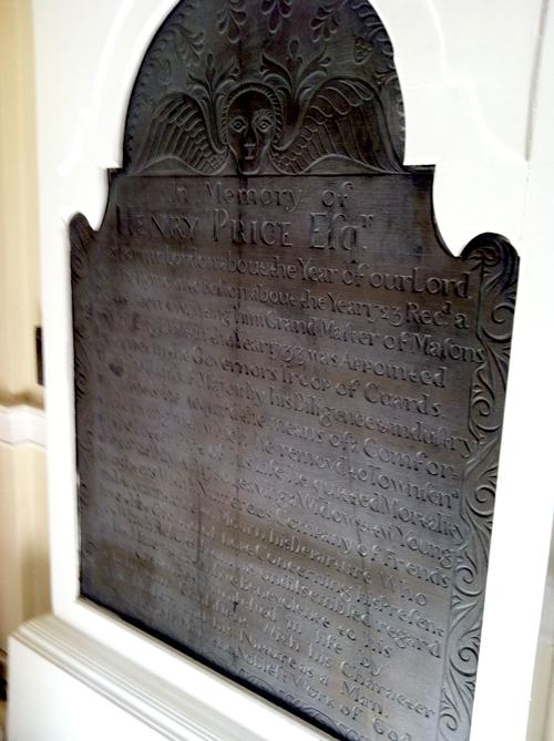 A memorial stone that once stood near the grave of first Massachusetts Grand Master Henry Price.