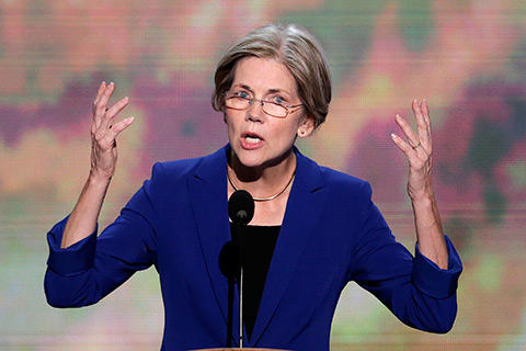 File photo: Elizabeth Warren speaks at the Democratic National Convention.