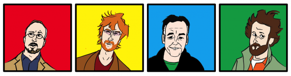 Local web cartoonists, from left to right: Don MacDonald, Ryan North, John A. Walsh, and Brian McFadden