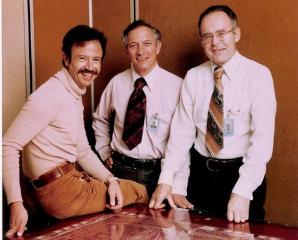 Intel co-founder Robert Noyce (center) with Andy Grove (right) and Gordon Moore (left).