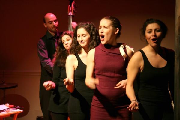 Tony Leva, Melissa Barker, Jennifer Reddish, Veronica Barron and Melis Aker in Whistler in the Dark's production of Vinegar Tom.
