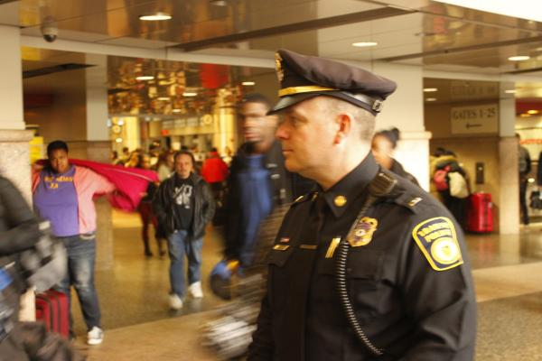 Lt. Commander Christopher Maynard of the MBTA Transit Police on duty at South Station.