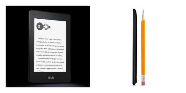 The Kindle Paperwhite may have the dimensions of a book from the front — but it's a whole lot thinner.