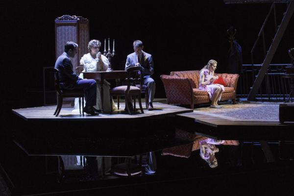 Zachary Quinto, Cherry Jones, Brian J. Smith, and Celia Keenan-Bolger in the A.R.T production of The Glass Menagerie.