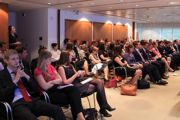 The crowd at a London conference for young entrepreneurs. More and more young people are choosing to forgo the corporate rat race.