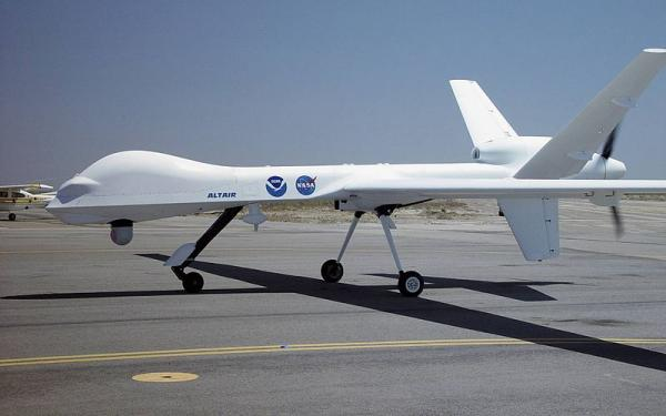 A predator drone on a US Air Force base during summer 2011.