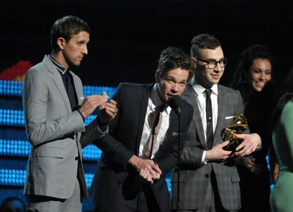 Nate Ruess, center, Andrew Dost, left, and Jack Antonoff, of the musical group fun., accept the award for song of the year for We Are Young at the 55th annual Grammy Awards.