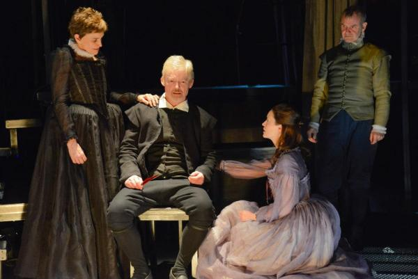 Brooke Adams, Allyn Burrows, Stacy Fischer and Billy Meleady in the Commonwealth Shakespeare Company production of The Last Will.