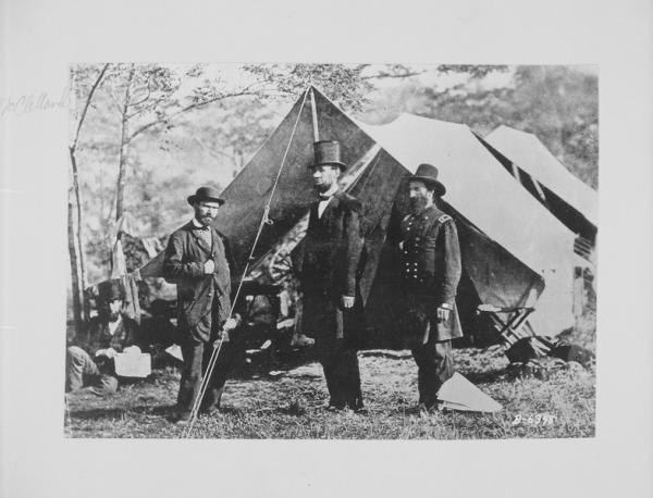 President Lincoln with Major General John A. McClernand and Allan Pinkerton, detective.