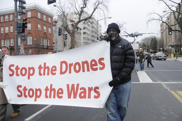 Protesters march against drone use at President Obama's Inauguration in Jan. 2013.
