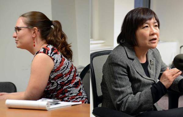 Lauren Burke and Fran Gau of the New York Asian Women's Center.