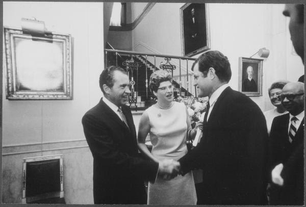 President Nixon meets with members of the League of Women Videos.