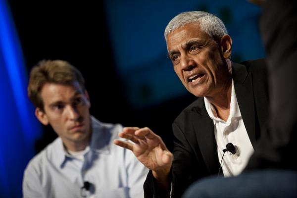 Venture Capitalists Kevin Skillern of GE Venture Capital, and Vinod Khosla of Khosla Ventures speak at a conference.