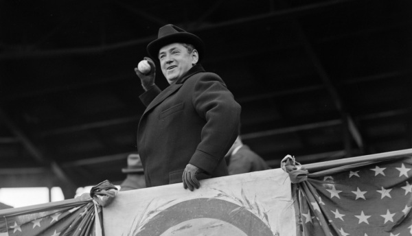 Boston Mayor James Michael Curley throws out the first pitch at Fenway Park in 1924.
