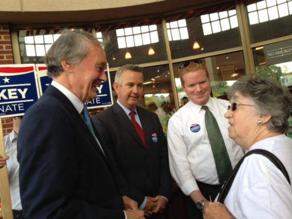 U.S. Rep. Ed Markey greets voters at Roche Bros. in West Roxbury.