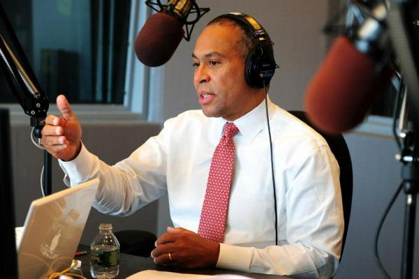 Gov. Deval Patrick talking with callers on WGBH's Boston Public Radio.