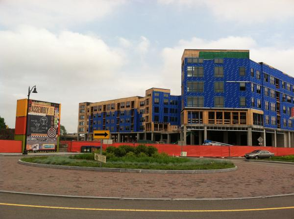 Buildings under construction on Somerville's waterfront.