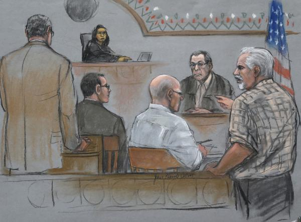 This courtroom sketch depicts Steve Davis, right, brother of homicide victim Debra Davis, allegedly killed by James Whitey Bulger, center, as Davis explodes in anger after Stephen Flemmi, behind right, identified him as a drug user and informant.