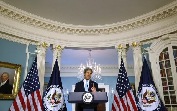 Secretary of State John Kerry makes a statement about Syria at the State Department in Washington, Friday, Aug. 30, 2013.