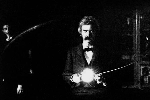 Mark Twain experiments with Tesla (left) in his lab, 1894.