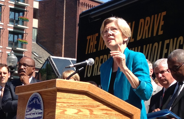 Sen. Elizabeth Warren speaks in Boston.