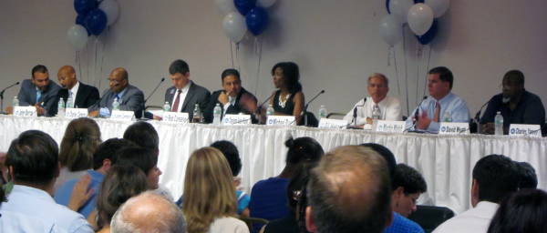 The candidates for mayor of Boston at the Boston Teachers Union forum.