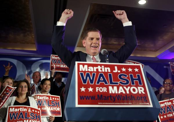 Boston Mayor Marty Walsh at his primary election night party in Boston, Tuesday, Sept. 24, 2013.