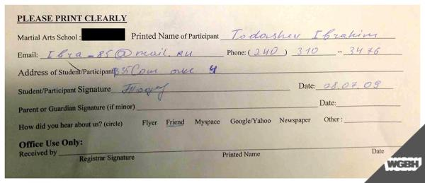 Gym waiver signed by Ibragim Todashev.