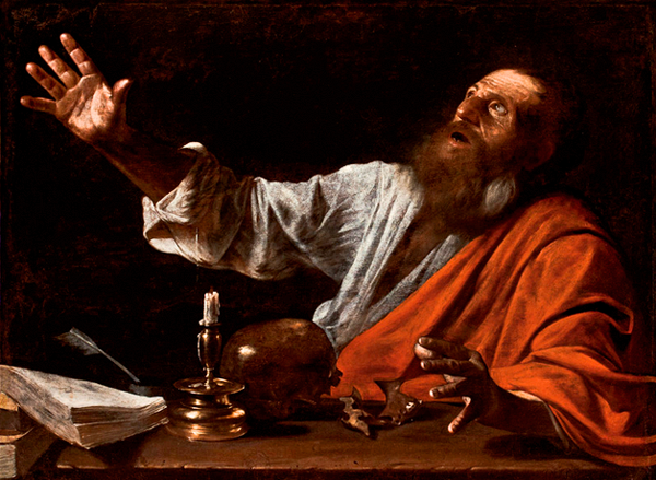THE VISION OF SAINT JEROME, Follower of Caravaggio, First half of the 17th century, possibly Italian, Oil on canvas, Austin S. Garver Fund, 1960.13