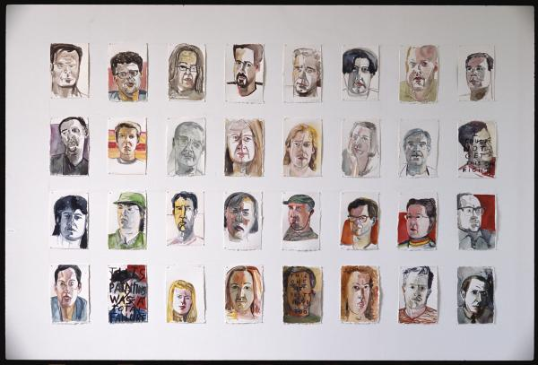 Williamsburg Portraits, 1991-92, Ink, gouache and pencil on paper. 32 drawings, each: 11 x 8 inches.