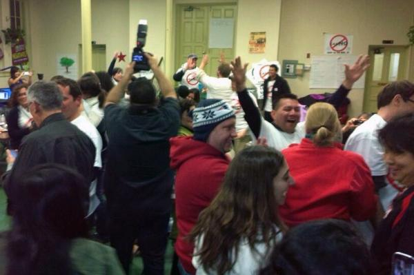 No Eastie Casino, an anti-casino group, celebrate the election result Tuesday.