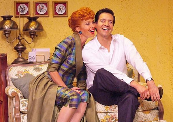 Sirena Irwin as Lucy Ricardo and Bill Mendieta as Ricky Ricardo in the national tour of I Love Lucy Live on Stage.