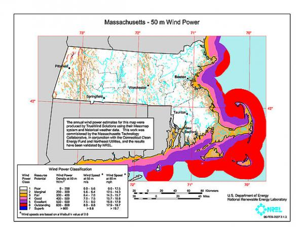 An offshore wind map for Massachusetts, Rhode Island and Connecticut. Cape Wind received a $600 million loan for their project to harness offshore wind for energy production.