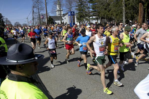 Runners competing in the 2011 Boston Marathon.