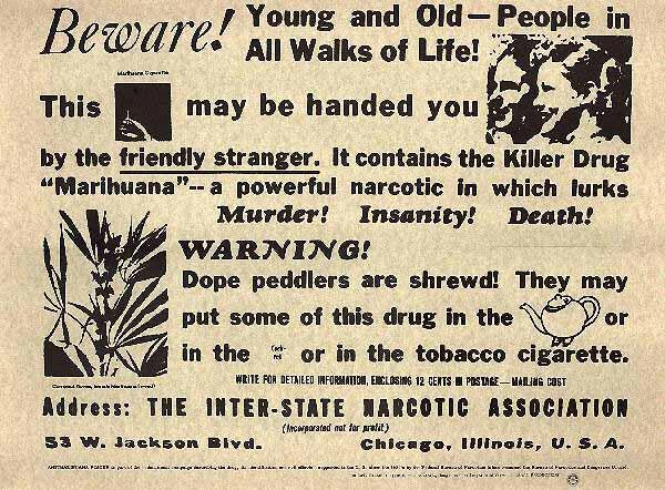 A flier distributed by the Federal Bureau of Narcotics in 1935. Attitudes towards marijuana have changed drastically since then. Now, states could stand to gain tax revenue through legalization.