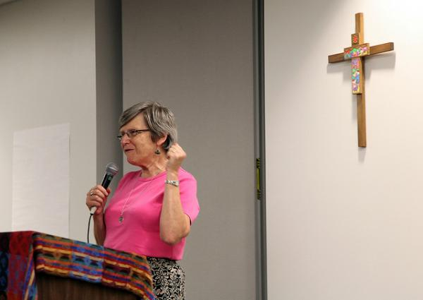 Sister Simone Campbell talked about the 2012 bus tour she and fellow nuns embarked on, called Nuns on the Bus.