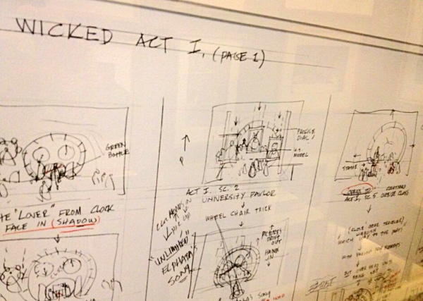 Framed sketches of the set for Wicked in Eugene Lee's home.