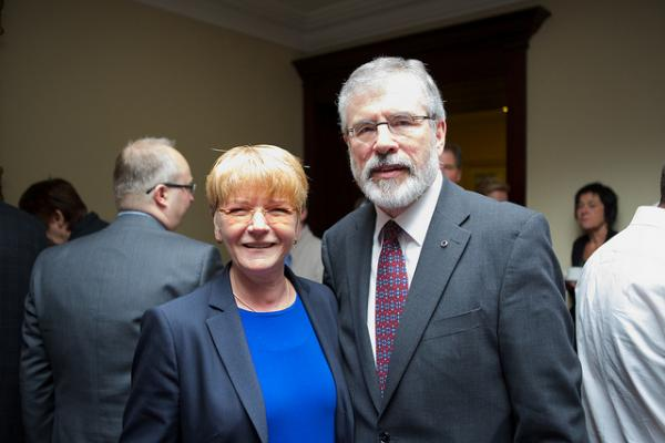 Sinn Fein leader Gerry Adams, right, was taken into Irish police custody this week based on information gleaned from the Boston College Belfast Project.