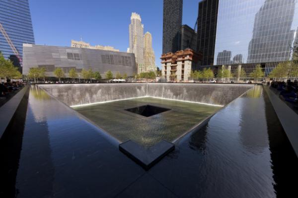 The memorial at the site of the Twin Towers in Manhattan. This week, the Memorial Museum opened, complete with an entry fee and gift shop. Margery and Jared discussed it.