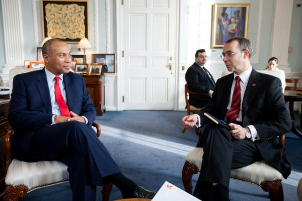 Gov. Patrick -- pictured here with Swiss Consul General Felix Moesner in 2012 -- was back for another edition of Ask the Governor on Boston Public Radio.