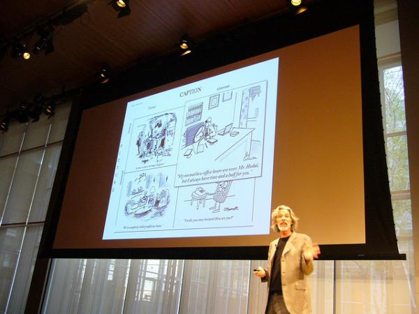 New Yorker cartoon editor Bob Mankoff talked to Jim Braude and Margery Eagan about his career in cartoons.