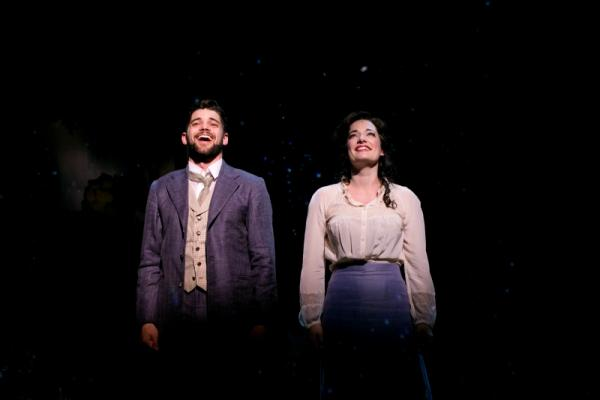 Jeremy Jordan as J. M. Barrie and Laura Michelle Kelly as Sylvia Llewelyn Davies in Finding Neverland.