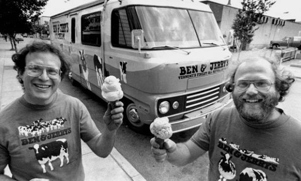 Really, it could have been anything: Jerry Greenfield (left) and Ben Cohen (right) set their sights on the ice cream business because the $5 ice cream making course was all they could afford when they got together in 1978.
