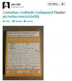 Paper tweet from Jim Hill