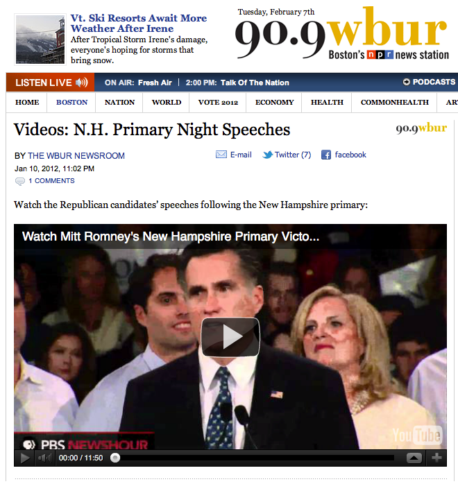 Screenshot of WBUR story.