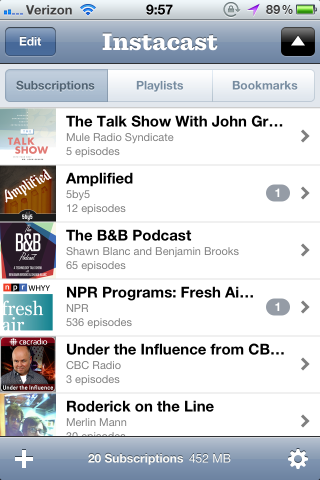 Podcast subscriptions in Instacast