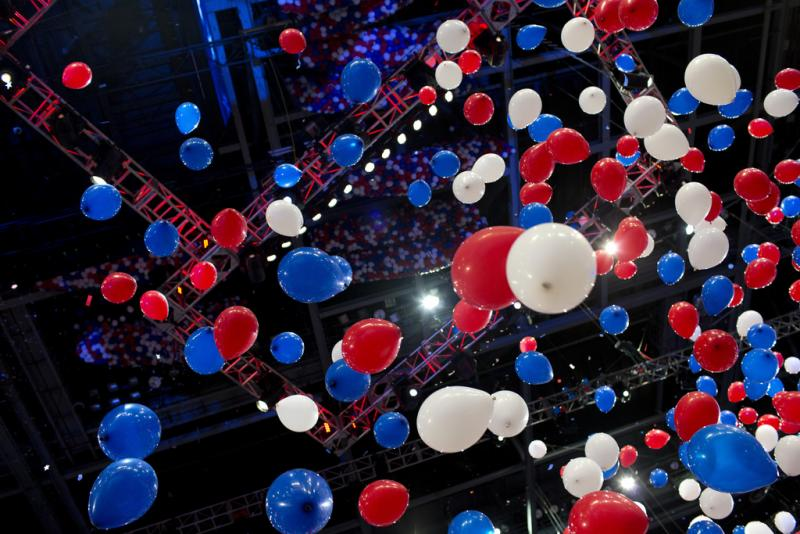 Balloons rain down at the Republican National Convention.