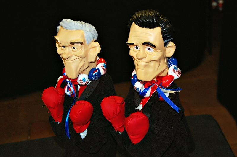 "Ron Paul and Mitt Romney figures ""choose their battles."""