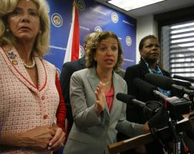 U.S. Rep. Debbie Wasserman Schultz in Tallahassee on Wednesday.